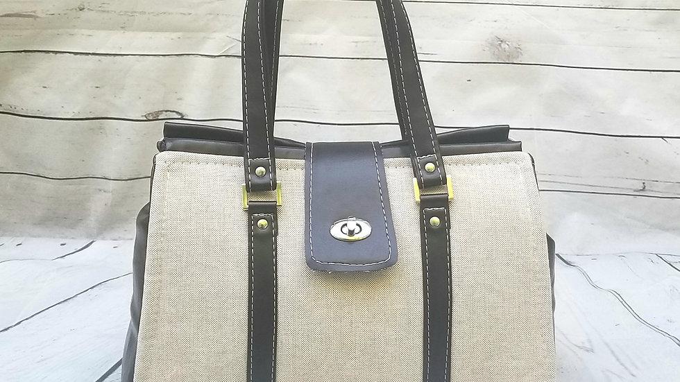 Linen doctor bag handbag