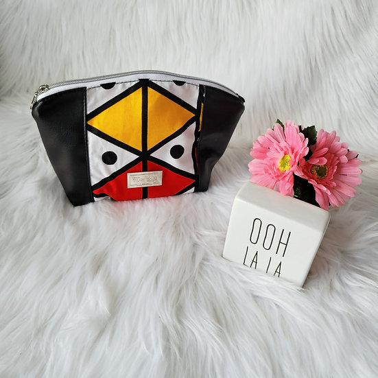 Red and Yellow Tribal Curvy Zipper Clutch
