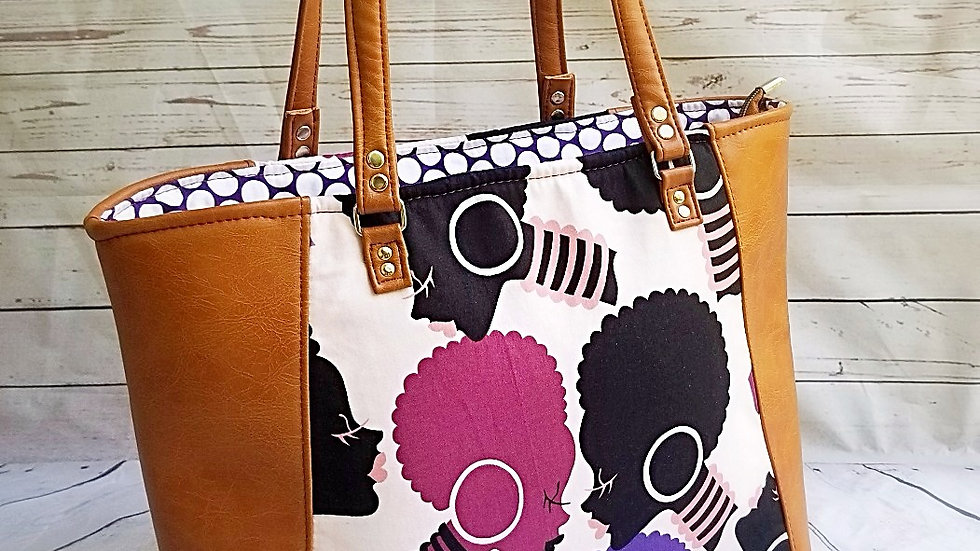 Purple Afro Queen Structured Tote