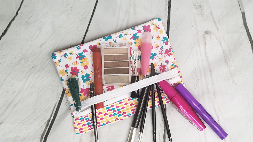 Pink Blue Yellow Floral Beauty Bag