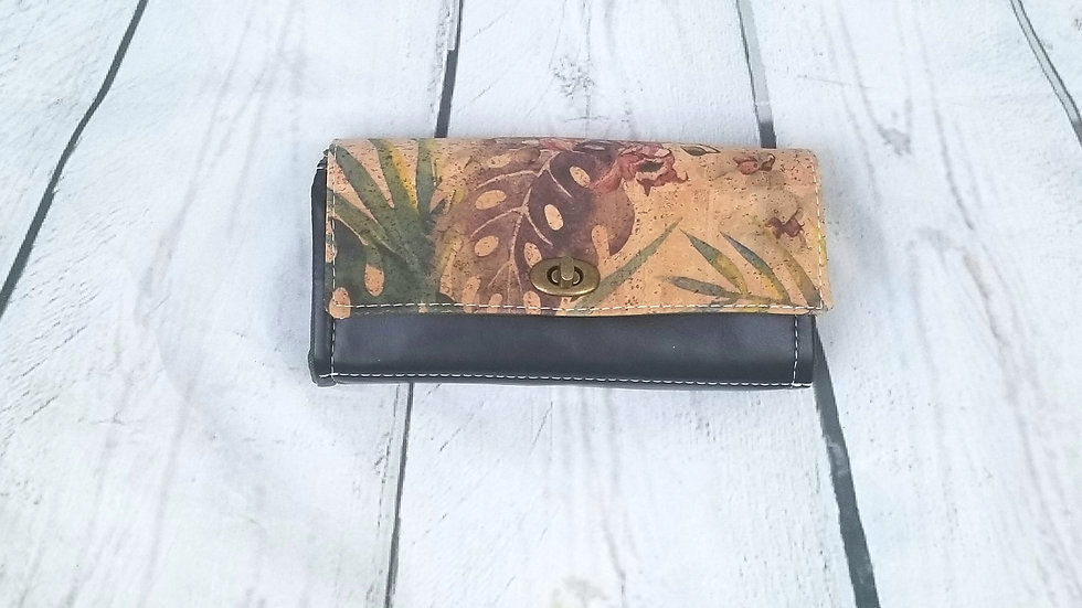 Cork floral wallet