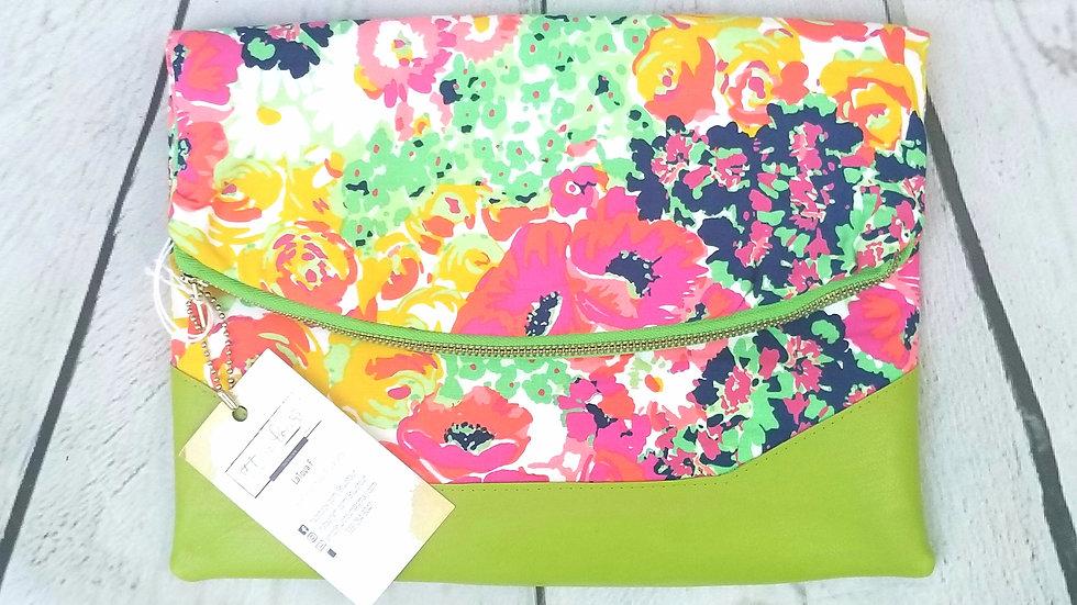 Large spring summer floral clutch