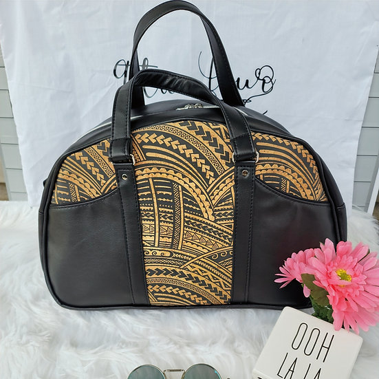 Tribal Cork and Faux Leather Bowler Bag