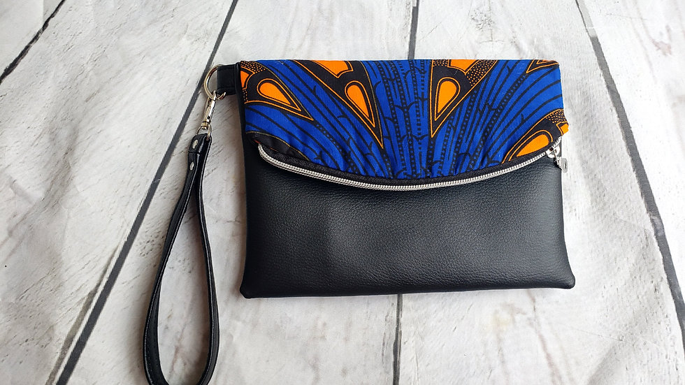 Blue and Black Ankara Foldover Clutch Wristlet