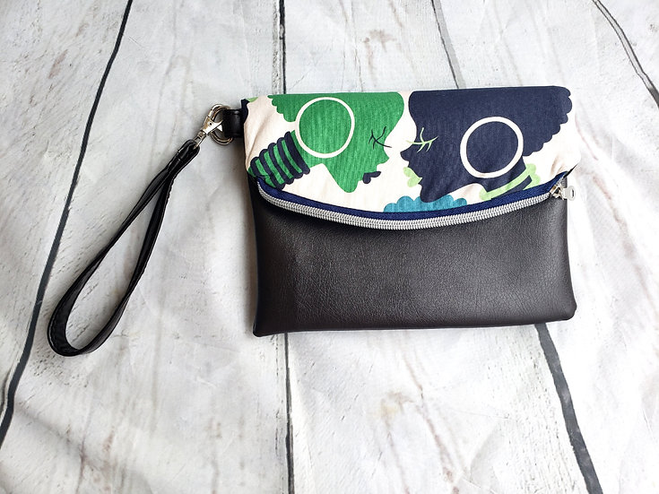 Limited Edition: Blue and Brown Silhouette Foldover Clutch Wristlet