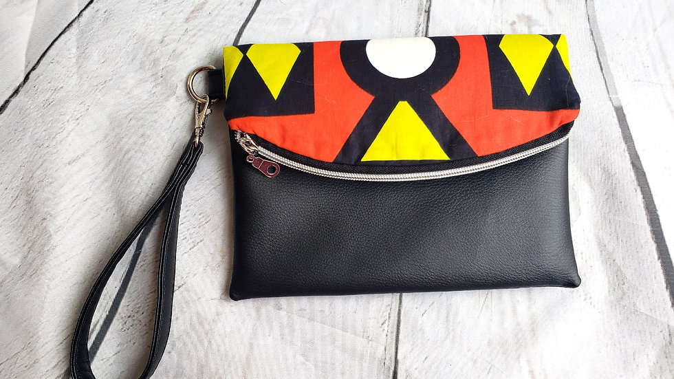 Red and Black Ankara Foldover Clutch Wristlet