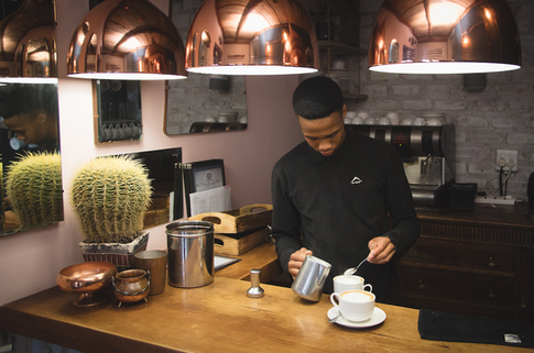 Coffee bar and barista