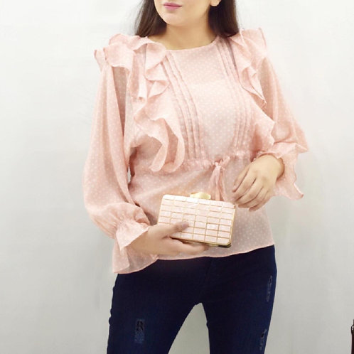 FW20WT10-79  WOMEN FRILLED TOP