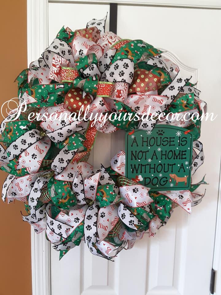 Christmas Wreath With Lights.Dog Lover Christmas Wreath