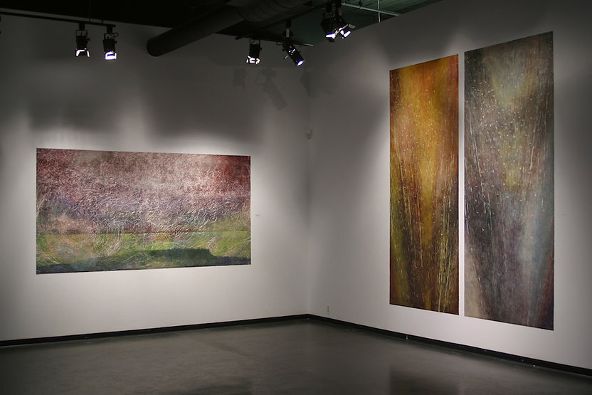 "Left: DENNIS' SPIRIT, 2000 Woodcut 48-1/2"" x 96""; Right: SPIRIT TO BREATHE, 1999 Woodcut 98"" x 40"" (each)"