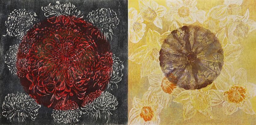 "SHOWA & HEISEI (Diptych), 2011 Woodcut & Collagraph 29-1/2"" x 59"""