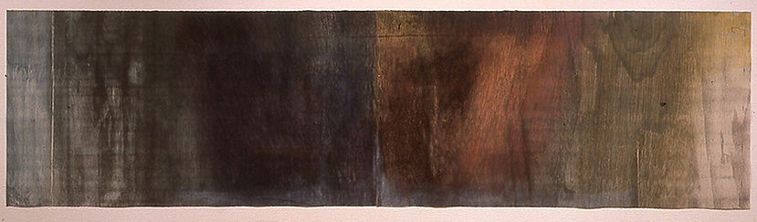 "SPIRT FALL A FRESH ON ME, 2001 Woodcut and Encaustic 23"" x 88"""
