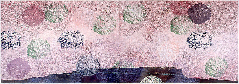 "SING TO GOD A NEW SONG, 2002 Woodcut, Linoleum cut, Collagraph, Silkscreen and Collage 30"" x 88"""