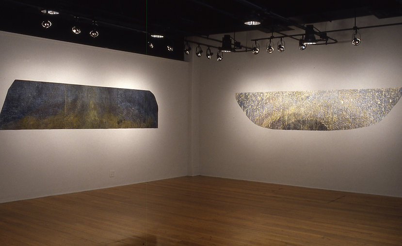 "Left: 9-9-96, 1996 Woodcut and Encaustic 30"" x 120""; Right: SEEDS OF LIFE, 1997  Woodcut and Encaustic 30"" x 120"""