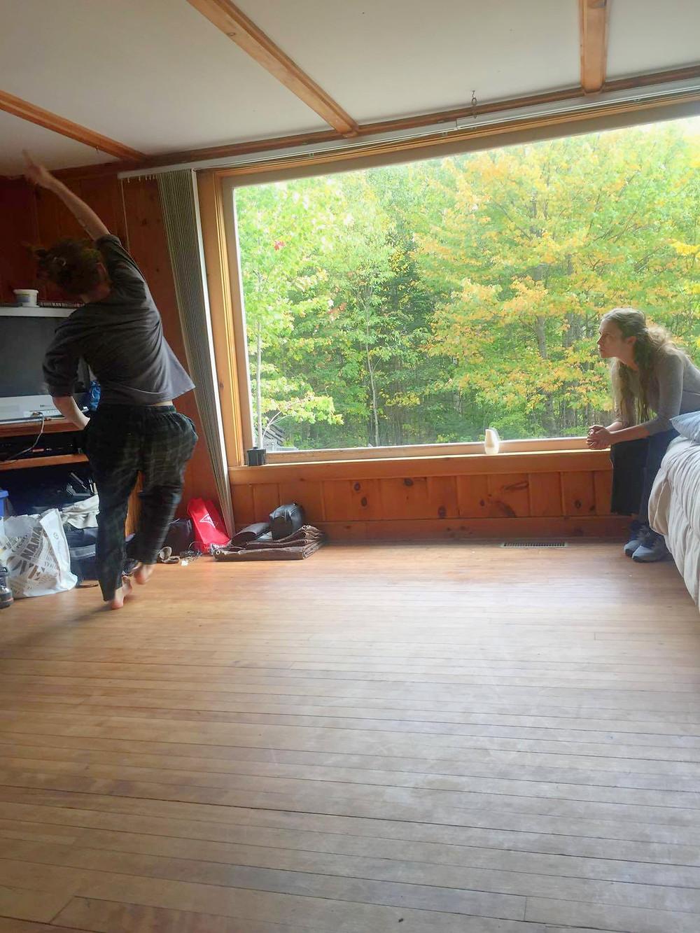 Emily Jerant-Hendrickson rehearsing with Jacob Regan during CoGRAVITY's White Mountain Microresidency (Sept. 2020)