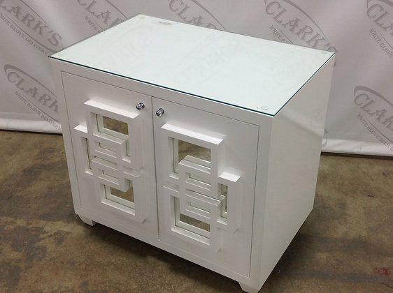 WHITE LACQUERED TWO DOOR CHEST WITH MIRROR DETAIL AND GLASS TOP BY WORLDS AWAY