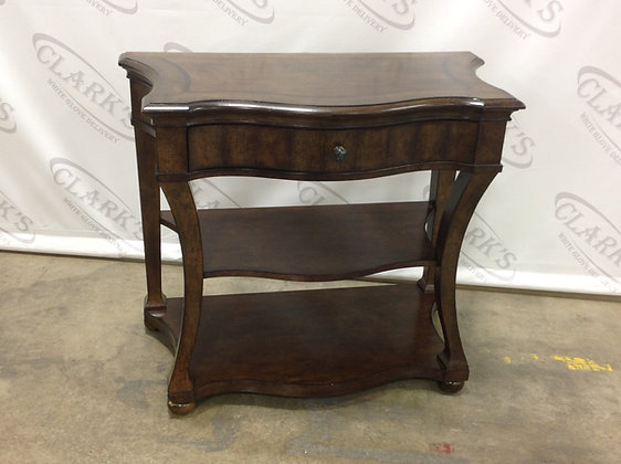Charming TRADITIONAL WOODEN SIDE TABLE WITH DRAWER AND TWO SHELVES