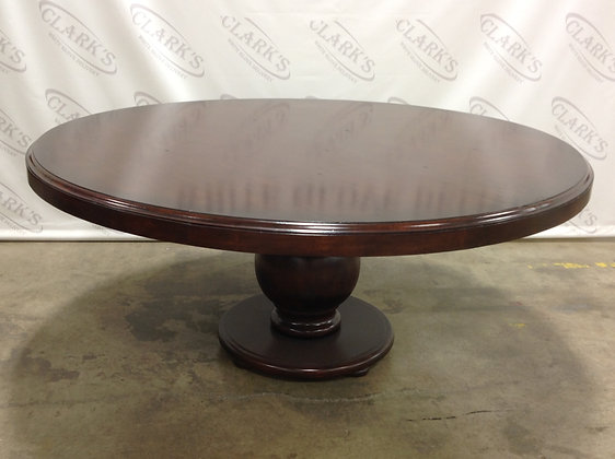SOLD * 72 INCH ROUND POLISHED WOOD DINING TABLE