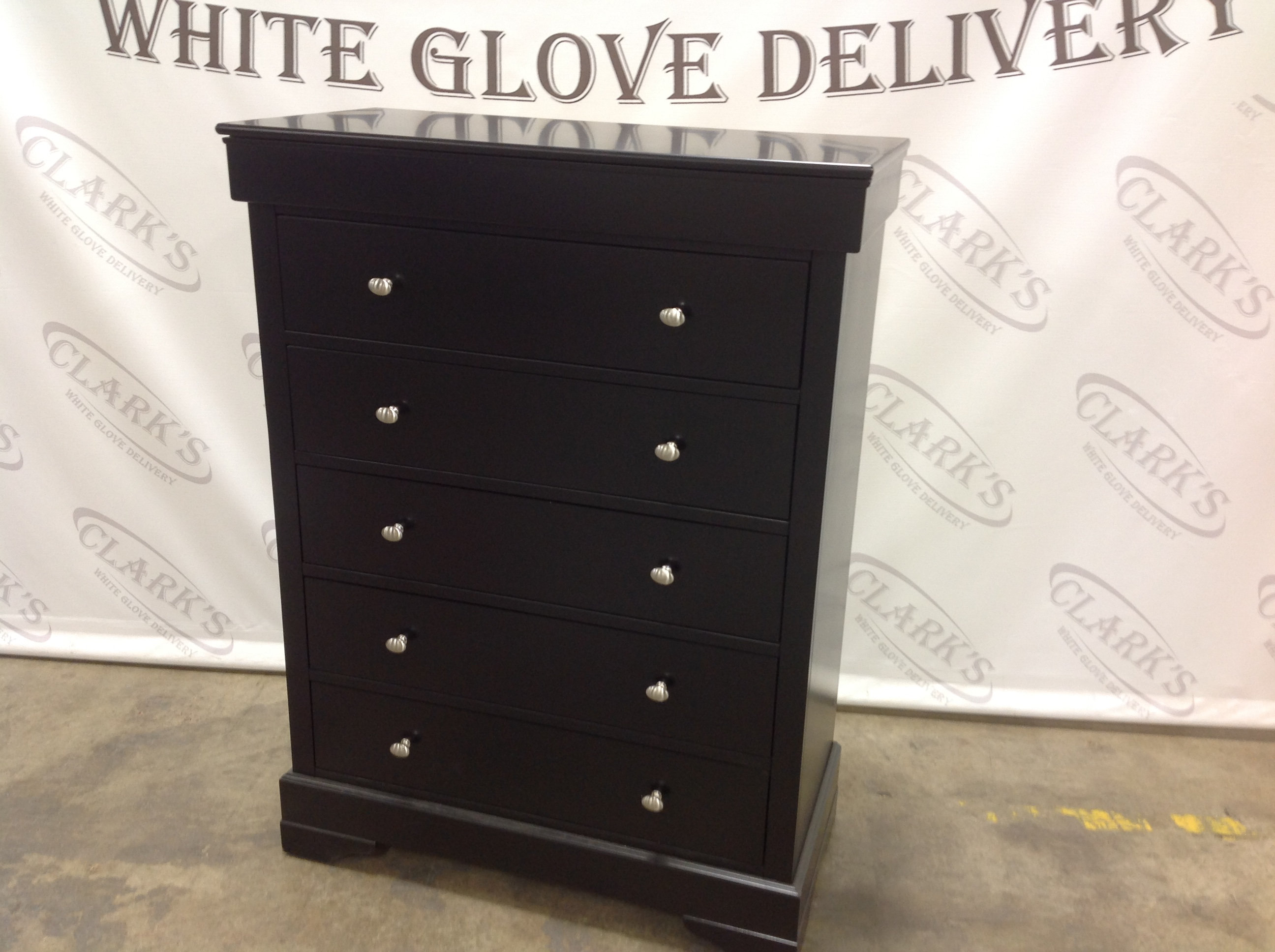 Contemporary Five Drawer Dresser With Ebony Finish And Satin Nickel Pulls