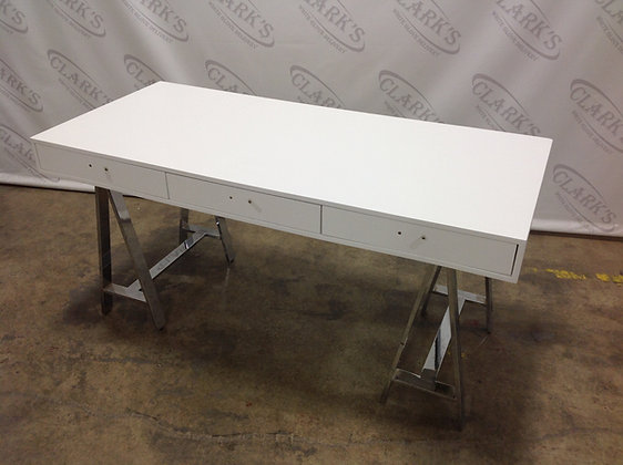 WHITE DESK WITH THREE DRAWERS AND POLISHED METAL A-FRAME LEGS BY NEW PACIFIC