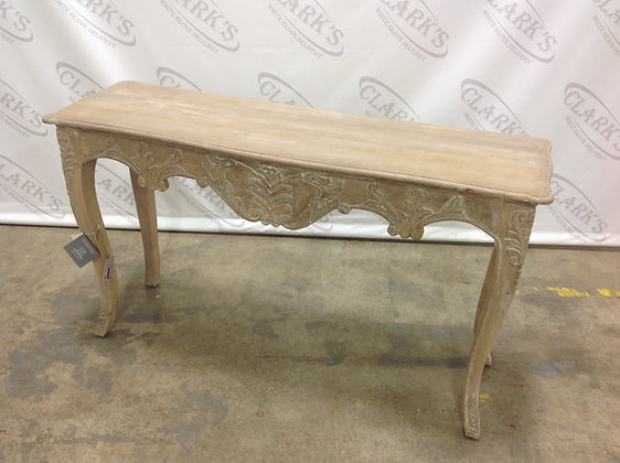 AGED IVORY WOOD CONSOLE WITH ORNATE CARVING
