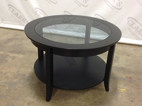ROUND EBONY WOOD AND GLASS SIDE TABLE
