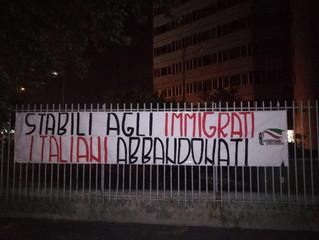 VIA TOFFETTI, FDI-AN: LO STRISCIONE PER CASE AGLI ITALIANI E' DI GIOVENTU' NAZIONALE (GIOVAN