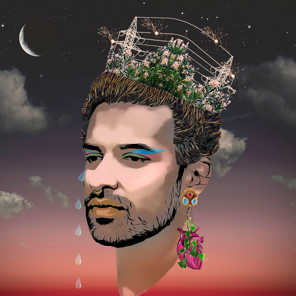 Uliya, a South Asian person gender fluid person with light skin, is illustrated in profile from the neck up floating in the sky. The sky goes from orange sunset at the bottom to deep purple-gray at the top. There is a crescent moon, stars, and clouds floating by in the sky. Uliya is wearing blue, green, and pink makeup and a gold lip. They have gold dots under their eyes. In the place of the top half of their head,  there are miniaturized power lines that are partially exploding and plants with pink flowers. There are several tears dropping down from their right eye in mid motion. And there is a gold earring with a red gem and two blue gems in their left ear, from which an anatomical heart wrapped in vines is dangling