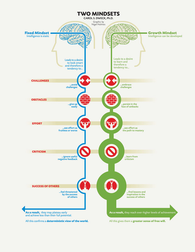 """An infograph describing the two mindsets put forth by Carol S. Dweck, Ph.D titled """"Two Mindsets"""", detailing the differences between fixed mindset in blue and growth mindset in green."""