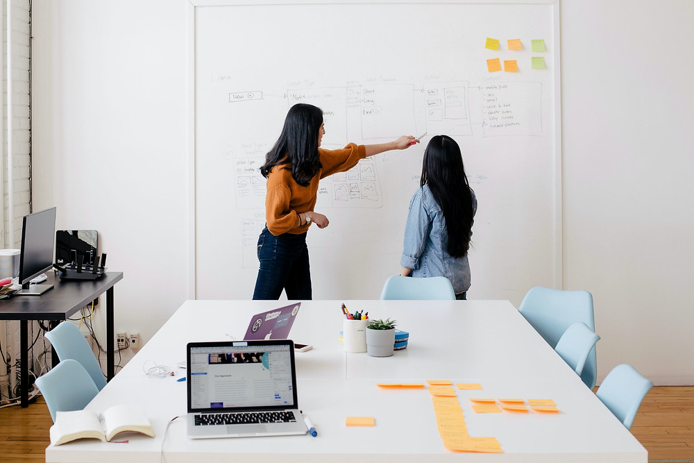 Two women are facing a large whiteboard with text and post-its on it. One women points at text on the board with a pen while the other looks in that direction. There is a large office table with pens, plants, and open laptops. There's another small desk on the left with a computer.