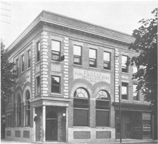 A black and white image of the St. Luke Penny Savings Bank in Richmond, VA.