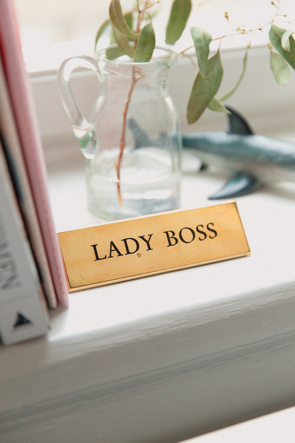 """A close up of a shelf with books and a vase holding a plant. There's a name plate that says """"Lady Boss."""""""