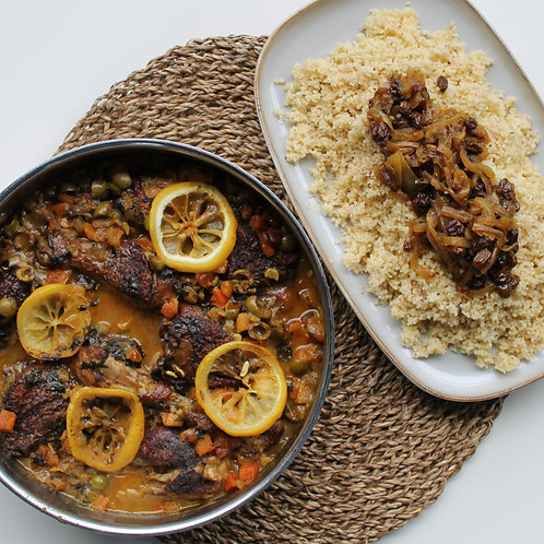 Moroccan Chicken with Couscous and Tfaya