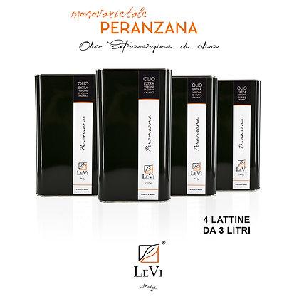 Olio Extravergine di Oliva Monovarietale Peranzana - 4 Latte da 3 Litri - LeVi