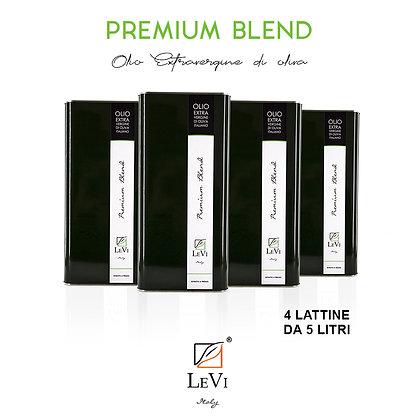 Olio Extravergine di Oliva Premium Blend, 4 Latte da 5 Litri - LeVi
