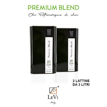 Olio Extravergine di Oliva Premium Blend, 2 Latte da 3 Litri - LeVi