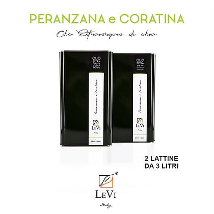 Olio Extravergine di Oliva Peranzana e Coratina, 2 Latte da 3 Litri - LeVi