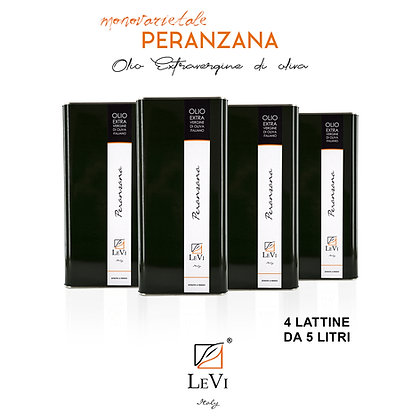 Olio Extravergine di Oliva Monovarietale Peranzana, 4 Latte da 5 Litri - LeVi