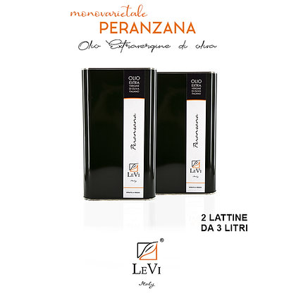 Extra-virgin olive oil of Peranzana monovarietal, 2 tin containers of 3 litres, LeVi