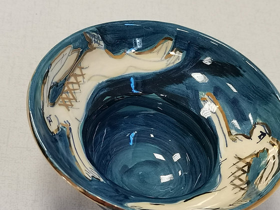 Blue footed Bowl with Hand Painted Hares - Caro Flynn