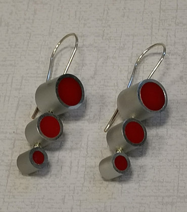 Panayotav Red Three Dot Earrings