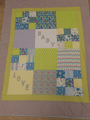 "Hand Made ""Baby Love"" Patchwork Cot Quilt by Bethan Roper"