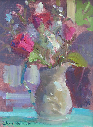 """Stocks and Red Roses in an old Jug"" by Jon Houser"