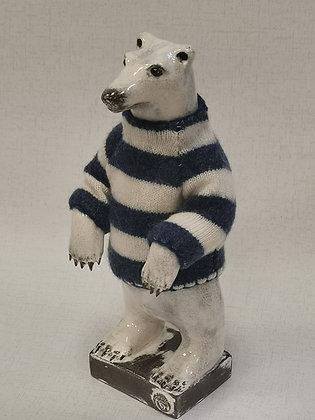 Polar Bear in Blue/White hand knitted Cashmere Jumper -Gwen Vaughan