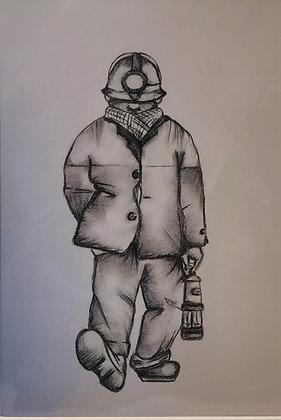 """""""Whistling Miner"""" - Print by Charlene Hopkins"""