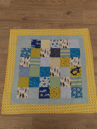 "Hand Made ""Peter Rabbit"" Yellow Cot Quilt by Bethan Roper"