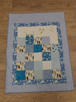 "Hand Made ""Peter Rabbit"" Blue Cot Quilt by Bethan Roper"