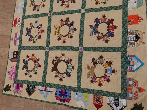 "Hand Made Appliqued ""Gingerbread Men"" Quilt by Bethan Roper"