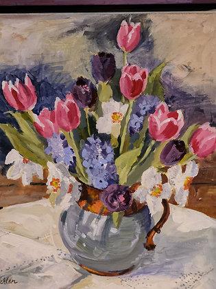 """""""Spring Flowers"""" Framed Acrylic by Caroline MacLachlan"""