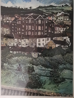"""Cycling From St Thomas St, Swansea"" Print by Rhona Tooze"